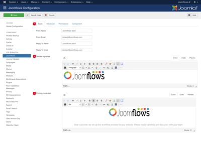 joomflows configuration overview