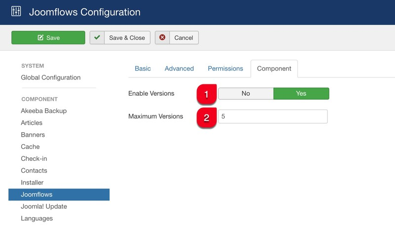 Component tab configuration Joomflows