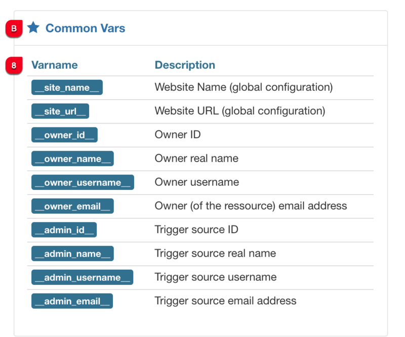 message common vars joomflows