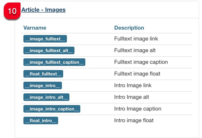 messages article images variables joomflows